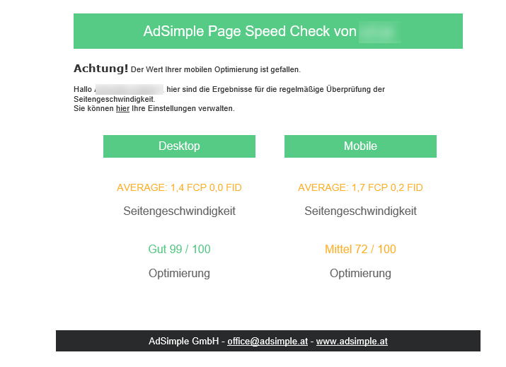 PageSpeed-Check-Email