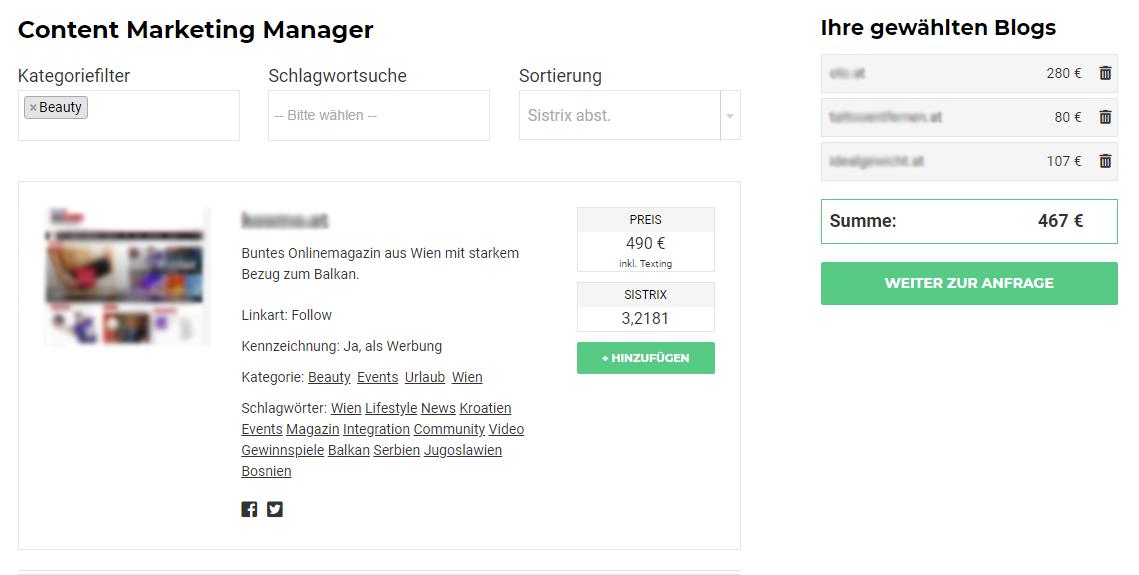 Screenshot des Content Marketing Managers von AdSimple