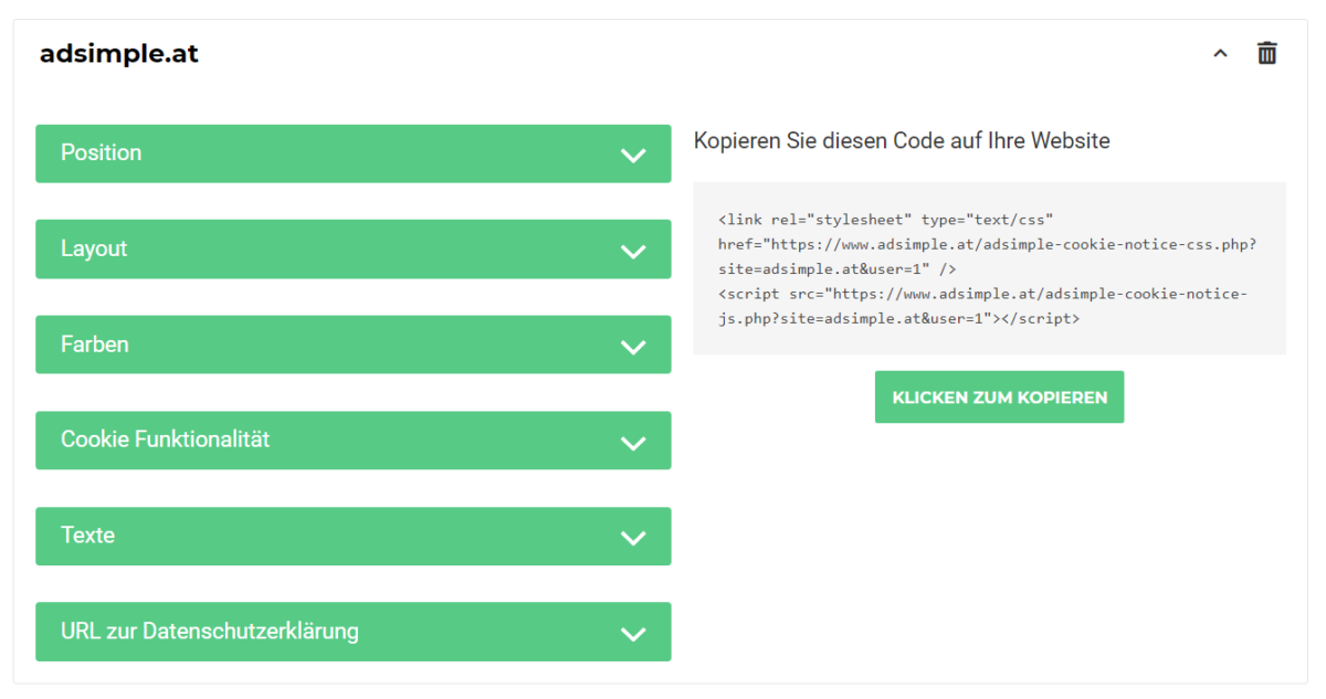 adsimple-cookie-notice-einstellungen