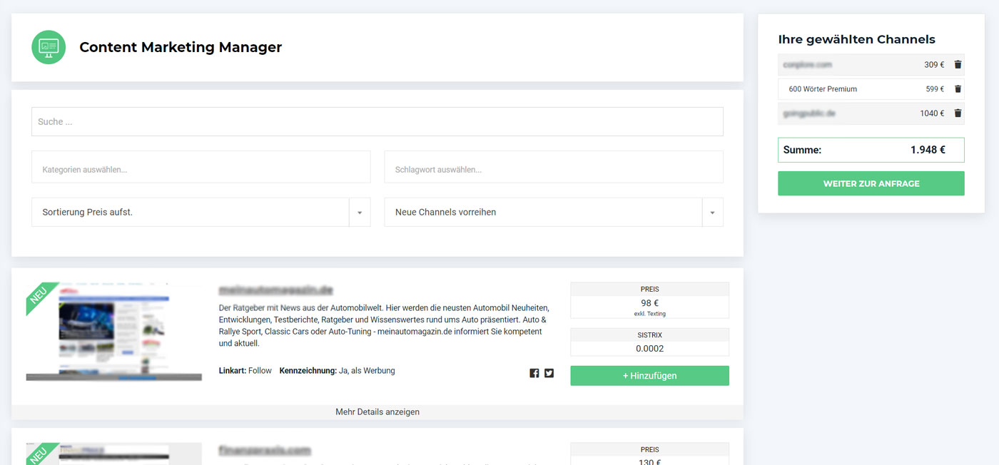 Screenshot des Content Marketing Managers von AdSimple